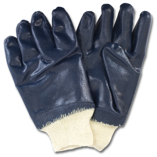 Blue Nitrile Dipped Smooth Finish, Knit Wrist, 1DZ Pair/Bag 12DZ/CS,