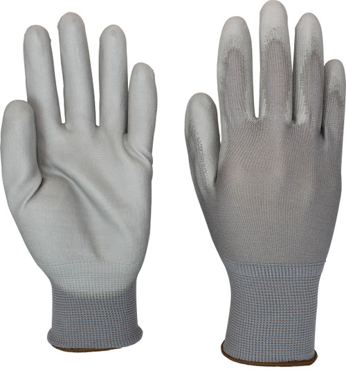 Gray Polyurethane Coated Gray Nylon Knit, 1DZ Pair/Bag 6DZ/CS, XS-2