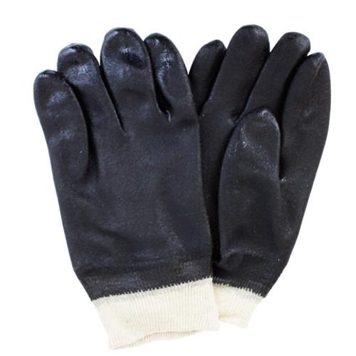 Black Double Dipped PVC, Jersey Lining, Knit Wrist, Rough Finish, 1DZ