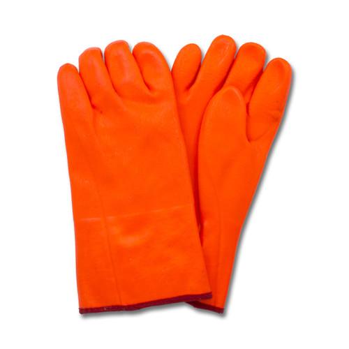 "10"" Orange PVC, Jersey Insulated Foam Lining, Rough Finish, 1DZ Pair/"