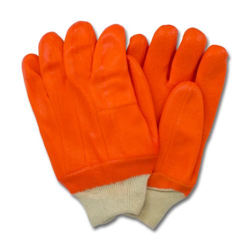 Orange PVC, Jersey Insulated Foam Lining, Knit Wrist, Rough Finish, 1D