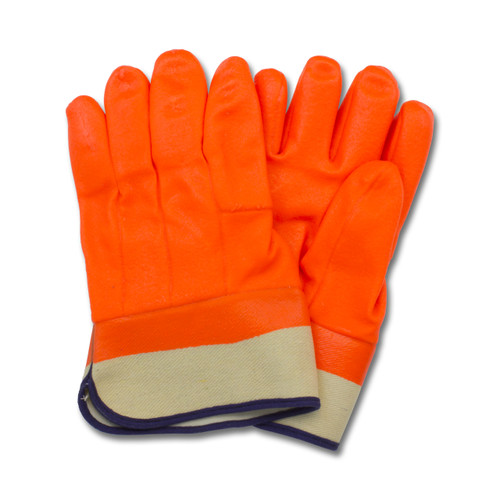 Orange PVC, Jersey Insulated Foam Lining, Safety Cuff, Rough Finish, 1
