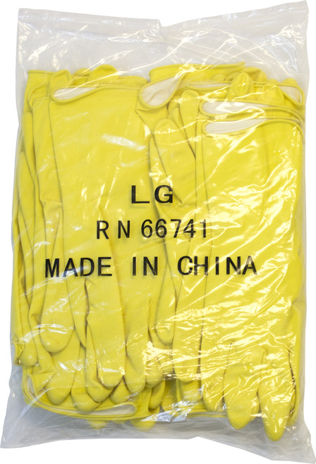 16 MIL, Yellow Flock Lined Latex, Bulk Packed Twelve Pair Per Bag, 10
