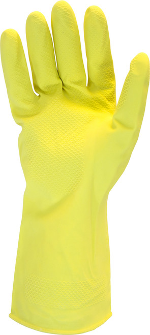 16 MIL, Yellow Flock Lined Latex, One Pair Per Bag, 10DZ/CS, SM-XL