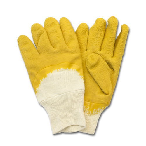Yellow Crinkle Finish Latex, Cut Resistant, Knit Wrist, 1DZ Pair/Bag 10D
