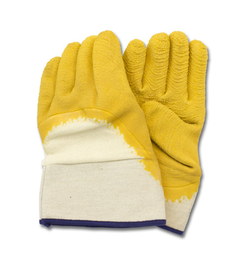 Yellow Crinkle Finish Latex, Cut Resistant, Safety Cuff, 1DZ Pair/Bag 10