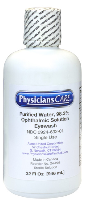 32 Oz. Wall Mount, Single Bottle Eye Wash Station, Sold by the Each
