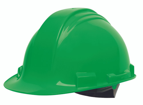 Honeywell Peak Green HDPE Shell Hard Hat, 4-PT Ratchet Suspension,
