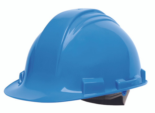 Honeywell Peak Sky Blue HDPE Shell Hard Hat, 4-PT Ratchet Suspensio