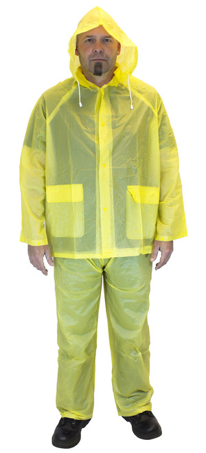 10 MIL 3 Piece Yellow Rain Suit, Sold by the Each, SM-3X