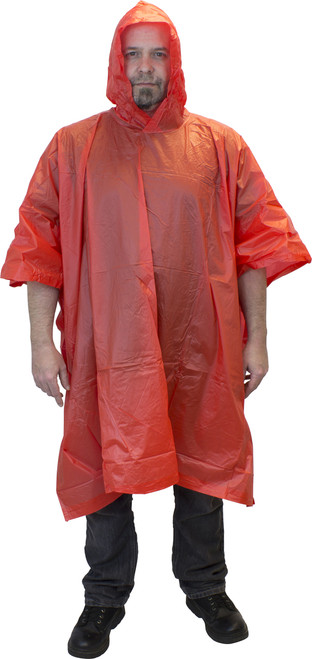 Red One Piece PVC Rain Poncho, Hood & Side Snaps, Sold by the Each,