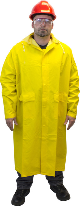 """35 MIL 48"""" Heavy Weight PVC/Polyester Full Length Yellow Raincoat, S"""