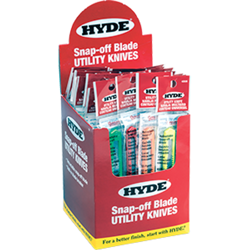 HYDE 49696 9MM ASSORTED COLORS SNAP-OFF BLADE UTILITY KNIVES BUCKET PK 1/50
