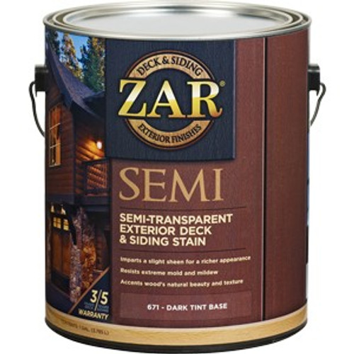 Zar 67113 1G Dark Base Semi-Trans Deck & Siding Stain