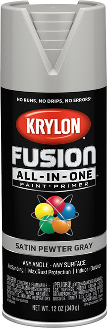 Krylon K02744007 12 oz. Satin Pewter Gray Fusion All-In-One Spray