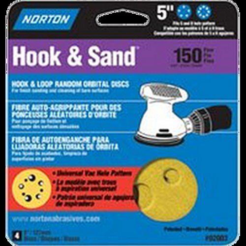 "Norton 02003 5"" 5 & 8 Hole P150 Hook & Loop Sanding Disc 4Pk - 15ct. Case"