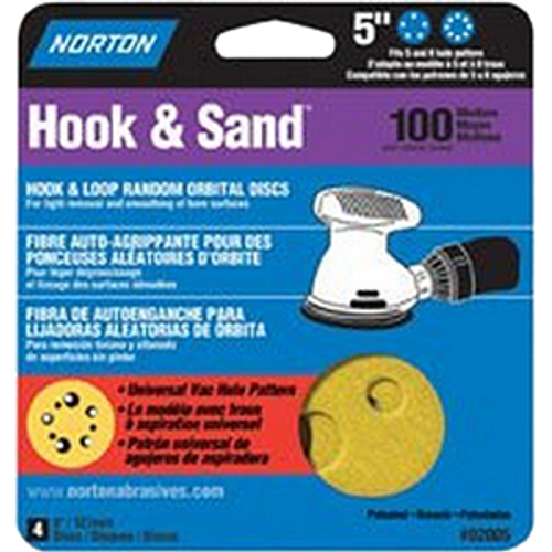 "Norton 02005 5"" 5 & 8 Hole P100 Hook & Loop Sanding Disc 4Pk - 15ct. Case"