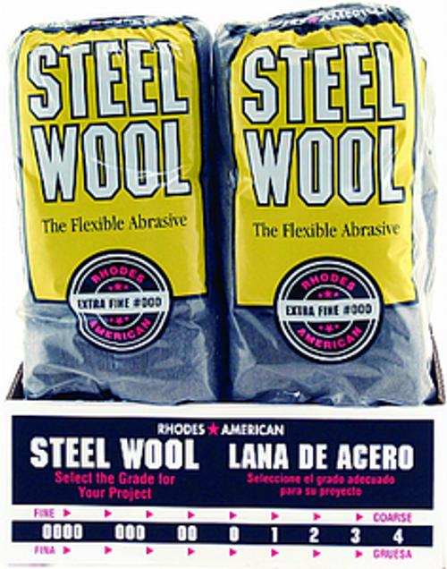 RHODES AMERICAN 106601-06 GRADE 000 STEEL WOOL 16 PAD POLY SLEEVE