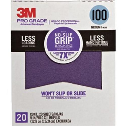 "3M 27100TRI-20 9"" x 11"" 100 Grit Pro Grade No Slip Grip Sandpaper 20Pk"