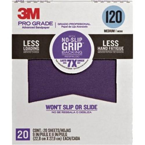 "3M 27120TRI-20 9"" x 11"" 120 Grit Pro Grade No Slip Grip Sandpaper 20Pk"