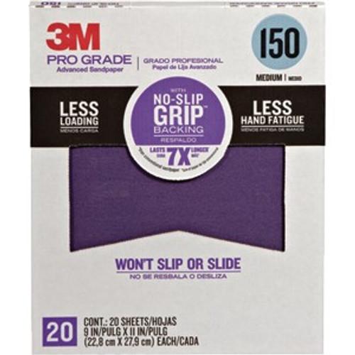 "3M 27150TRI-20 9"" x 11"" 150 Grit Pro Grade No Slip Grip Sandpaper 20Pk"