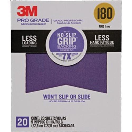 "3M 27180TRI-20 9"" x 11"" 180 Grit Pro Grade No Slip Grip Sandpaper 20Pk"