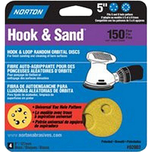 "NORTON 02003 5"" P150 5 & 8 HOLE HOOK & LOOP SANDING DISC 4PK - 15ct. Case"
