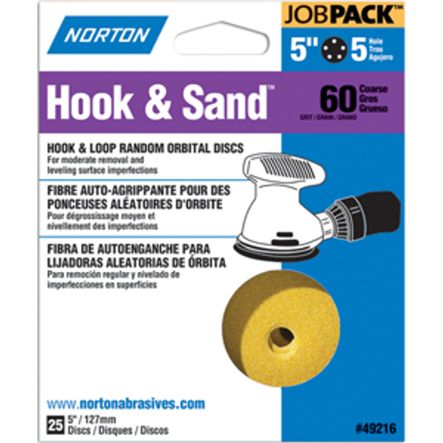 "NORTON 49223 5"" 8 HOLE P80 HOOK & SAND DISCS 25PK"