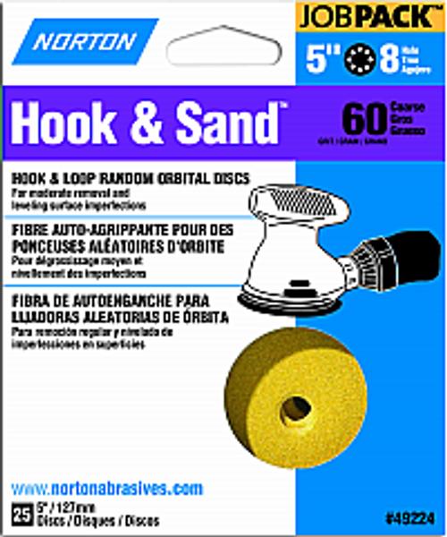 "NORTON 49224 5"" 8 HOLE P60 HOOK & SAND DISCS 25PK"