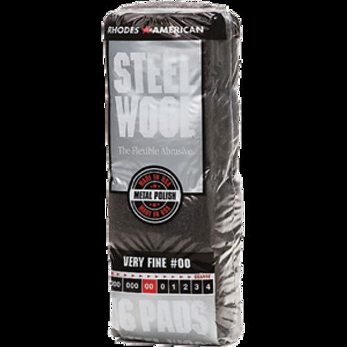 RHODES AMERICAN 106602-06 GRADE 00 STEEL WOOL 16 PAD POLY SLEEVE