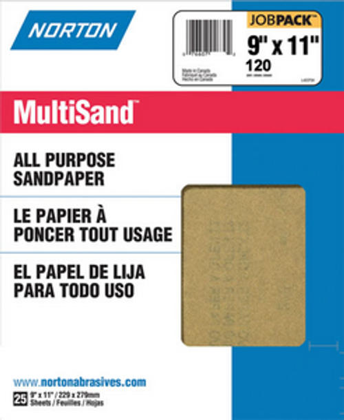 "NORTON 00357 9"" X 11"" 120C ALL PURPOSE BULK SANDPAPER PK 1/25"
