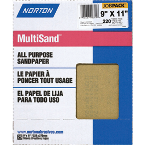 "NORTON 00354 9"" X 11"" 220A ALL PURPOSE BULK SANDPAPER PK 1/25"