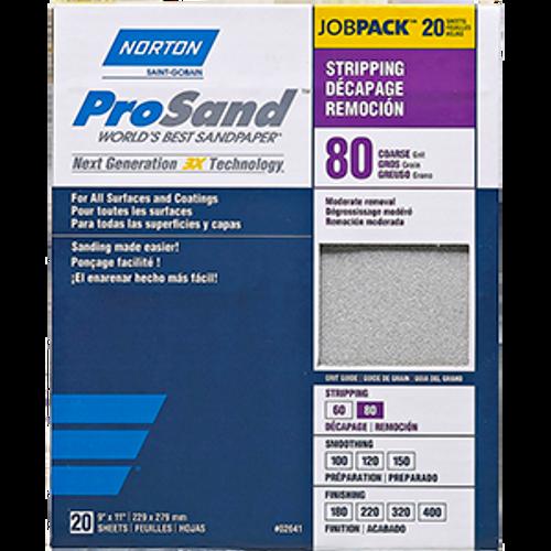"""NORTON 68174 9"""" X 11"""" 80 PROSAND SHEET 20PK"""
