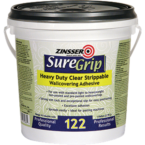ZINSSER 02881 1G SUREGRIP 122 HEAVY DUTY CLEAR STRIPPABLE WALL COVERING ADHESIVE