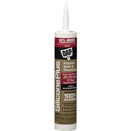 DAP 08770 10.3OZ WHITE SILICONE PLUS KITCHEN AND BATH SEALANT
