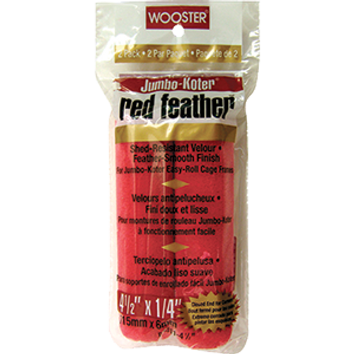 """WOOSTER RR311 4-1/2"""" RED FEATHER JUMBO KOTER ROLLER COVER 2PK"""