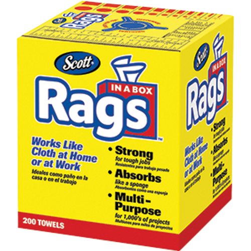 SCOTT 75260 WHITE RAGS IN A BOX 200 COUNT