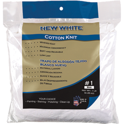 MERIT PRO 00035 #1 BAG NEW WHITE COTTON KNIT WIPING CLOTH