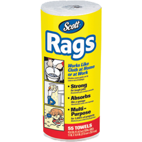 SCOTT 75230 WHITE RAGS ON A ROLL 55 COUNT