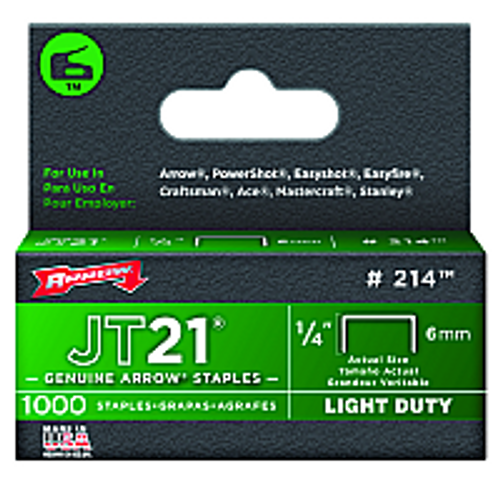"ARROW FASTENER 214 1/4"" 6MM JT21 STAPLE - 5ct. Case"
