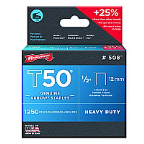 """ARROW FASTENER 508 1/2"""" 12MM T50 STAPLE - 24ct. Case"""