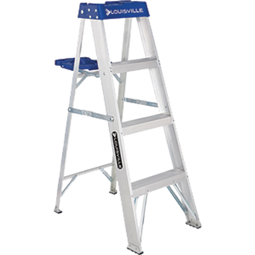 LOUISVILLE LADDER AS2104 4' ALUMINUM STEPLADDER TYPE I WITH MOLDED PAIL SHELF 250LB RATING
