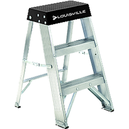 LOUISVILLE LADDER AS3002 2' ALUMINUM STEPLADDER TYPE IA WITH PAIL SHELF 300LB RATING