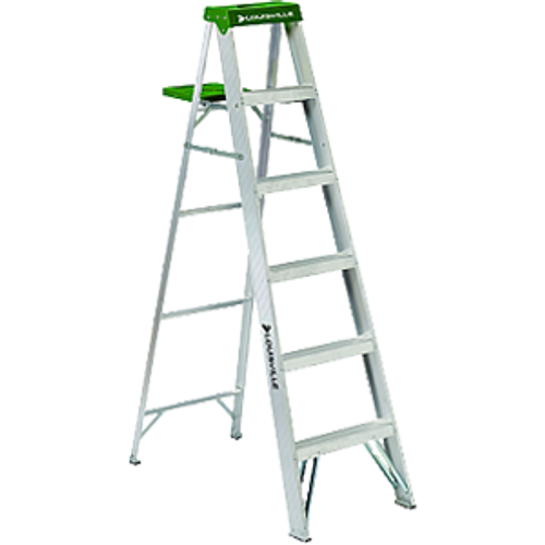 LOUISVILLE LADDER AS4006 6' ALUMINUM STEPLADDER TYPE II MOLDED TOP WITH TOOL SLOT 225LB RATING