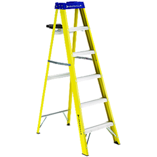 LOUISVILLE LADDER FS2006-S51 6' FIBERGLASS STEPLADDER TYPE I WITH PAIL SHELF 250LB RATING