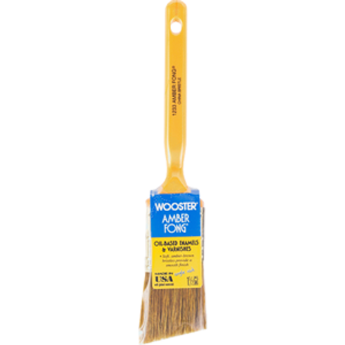 "Wooster 1233 1-1/2"" Amber Fong Brown China Bristle Angle Sash Brush - 12ct. Case"