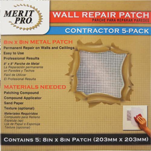 "MERIT PRO 03225 8"" X 8"" WALL REPAIR PATCH - CONTRACTOR 5PK"