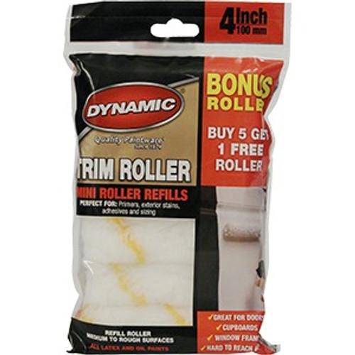 "Dynamic HM005350 4"" x 3/8"" (100mm) Mini Trim Acrylic Roller Refill 6Pk Zip Bag"