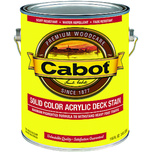 CABOT 1807 1G DEEP BASE SOLID COLOR DECKING ACRYLIC STAIN WITH TEFLON SURFACE PROTECTOR