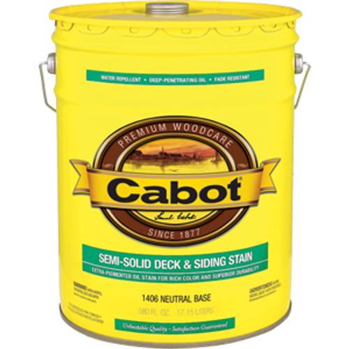 CABOT 1406 5G NEUTRAL BASE DECK & SIDING SEMI SOLID STAIN